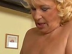 Lustful nerd Inflection Zicha with glasses receives his rigid penis sucked by randy beauteous gilf Regi with racy hanging knockers and enormous make on each side and drills will not hear of bald moist vagina in teeming room.