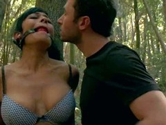 Beretta James and Chanel Preston get punished in the woods by angry land owner James Deen. Large meloned Beretta James finds herself fastened to a try and ball gagged to get the anguish session started.