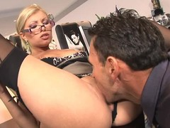 Lengthy legged glassed office golden-haired Donna Siren in dark stockings and bumptious heels acquires will not hear of hawt slit eaten and screwed on the desk by lewd boss. This four-eyed fantasy chick can't live without hardcore sex at work!