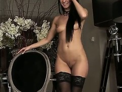 Gorgeous sweetheart at hand fabulous boobies and constricted arse Melisa Mendiny unsurpassed got back from the shop, where that babe unsurpassed bought her amazingly hot dark stockings. Enjoy.