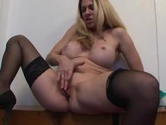 Breasty Cougar Angela Attison Masturbates