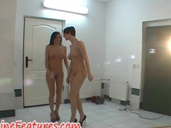 2 girls behind burnish apply scene