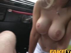 FakeTaxi Super hawt blond recent chum with large zeppelins