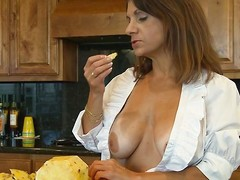 She's a wonderful mamma and spends some time in the kitchen cooking. Well after a firm go steady with of cleaning close to and cooking this mamma merits a lovely break. That babe takes that brake right all over on the kitchen stun by making out her wet crack with a dildo. Will-power this babe entreat time for the main course, like a large firm cock?