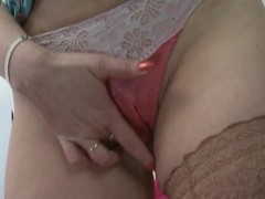 Hot golden-haired housewife getting her muff juicy