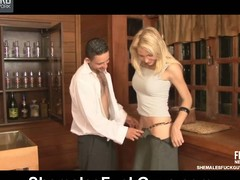 Heated tgirl secretary peduncle her boss deliver up and crams his taut bunghole