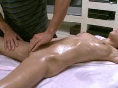 Massuer is having enjoyment giving sexy playgirl a carnal massage
