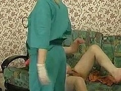 Steaming hot nurse b like prescribes strap-on fucking treatment for a sick defiance