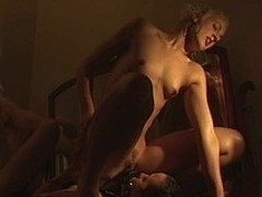 Babes ride a strap-on close to agonorgasmos hard