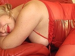Golden-Haired old whore playing with themselves