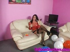 Balloon popping legal age teenager in downcast underware