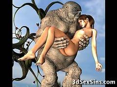 Ogres Semen On 3D Babes!