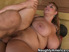 Plumper old bag Samantha has eminent hooters added to a chubby cookie getting screwed
