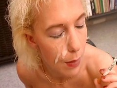 Nasty german MILF connected with a corset rides a unearth during the time that smokin'