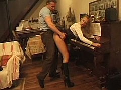 Youthful especially bettor gazoo drilled during piano lesson
