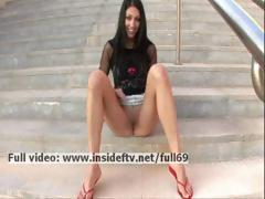 Suri _ Hawt dilettante brunette hair acting unfortunate added to touching their way muff in public