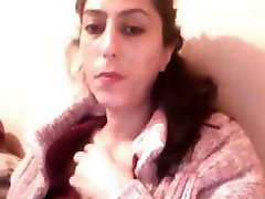 Turkish bbw brunette hair on her cam showing off her overweight body