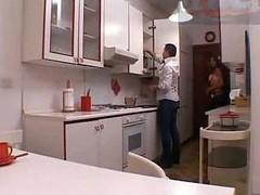 Tranny sex in a kitchen