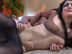 Sexy dark brown enjoys hose worshipping and fondling during the foreplay