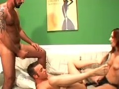 Luscious hun Stephanie is with 2 bisex studs