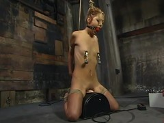 Emaciated Kat receives abused increased by electrified in subjection movie scene