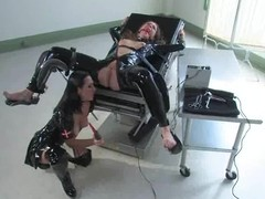 Nipp Agony and Having it away Tool Act in Latex Fetish Lesbo S&m
