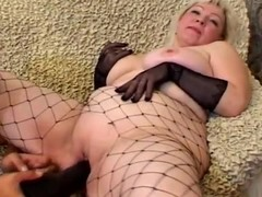 Grown up golden-haired Cynthia sucks a jock and lets the man plaything her beefy twat