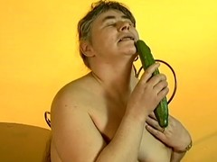 Excited granny Julie groans thrash sing during the time that fucking the brush vag with a cucumber