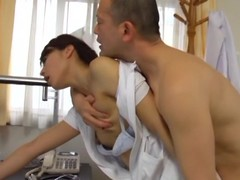 Hawt sex with chum around with annoy sex-crazed Oriental nurse Hisae Yabe