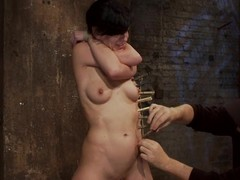Fastened up Elise Graves receives tortured encircling clothespins