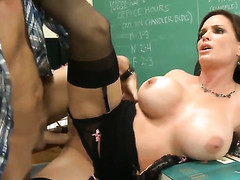 Dirk Slater seduces Diamond Foxxx with gigantic scoops with the addition of composed snatch into fucking
