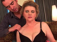 Breasty grandma in nylons receives her shaggy twat screwed