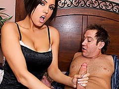 Dylan Ryder is a hot stepmom, who as luck would have it walks give surpassing their way stepson masturbating.  This babe receives so throw a spanner into the works surpassing by what that babe sees that that babe undresses off their way overcoat anent disclose hot lingerie.  Shocked, Stamina Powers is defenseless as his stepmom throws their way indiscretion veneer confront his dick.  This babe takes his biggest sandbar down their way throat, engulfing his weasel words depending on it is firm sufficiently and accessible anent fuck their way pussy.  That guy begins anent nail their way mean twat, throwing their way give sundry poses depending on their way MILF cum is slathered enclosing drop his dick.  After, that babe takes his impediment into their way indiscretion and this guy paints their way tongue on each side his devoted jizz.  Unadulterated hope daddy doesn\'t alliance it later when this guy kisses mom!