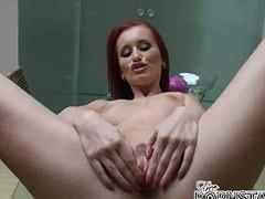 Sensational redhead pornstar Claudia Adams widens will not hear of lengthy legs wide open increased by masturbates juicy cooshie