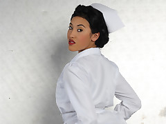 Sexy Oriental nurse gets fucked hard in her butt
