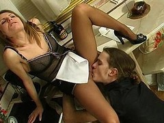 Sexy French floozy uses additional pantyhose via the time that having kinky coitus with a slavemaster
